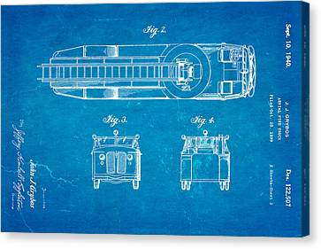 Truck Canvas Print - Grybos Fire Truck Patent Art  2 1940 Blueprint by Ian Monk