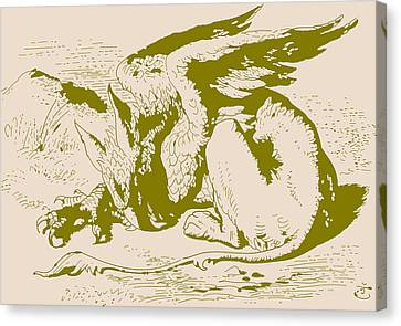 Gryphon Gold Alice In Wonderland Canvas Print by