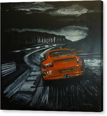Canvas Print featuring the painting Gt3 @ Le Mans #2 by Richard Le Page