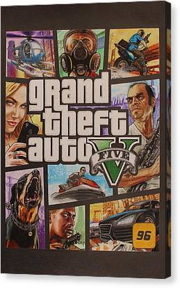 Gta V Box Art Cover Colored Drawing Canvas Print