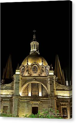 Guadalajara Cathedral At Night Canvas Print by David Perry Lawrence