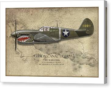 P-40 Canvas Print - Guadalcanal Tiger P-40 Warhawk - Map Background by Craig Tinder