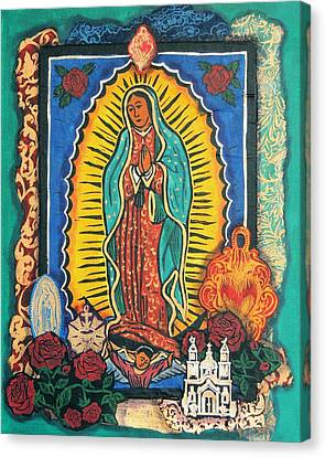 Guadalupe Collage In Turquoise Canvas Print by Candy Mayer