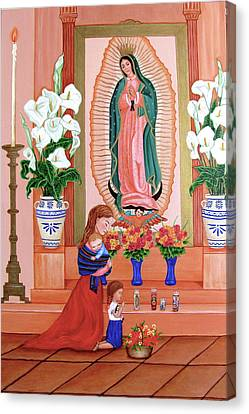 Canvas Print featuring the painting Guadalupe by Evangelina Portillo