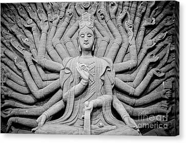 Guanyin Bodhisattva In Black And White Canvas Print by Dean Harte