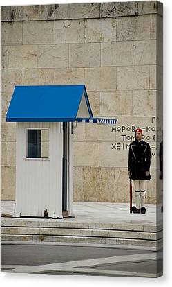 Guard At Tomb Of Unknown Soldier In Athens Canvas Print by Cliff C Morris Jr