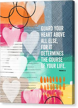 Guard Your Heart- Contemporary Scripture Art Canvas Print by Linda Woods