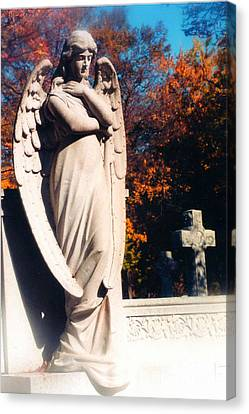 Guardian Angel Statue With Cemetery Cross Canvas Print