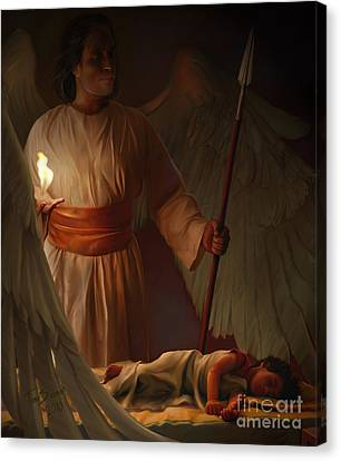 Bible Verse Canvas Print - Guardian Angel by Tamer and Cindy Elsharouni