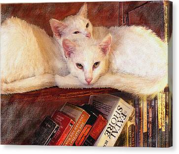 Guardians Of The Library Canvas Print by Jane Schnetlage