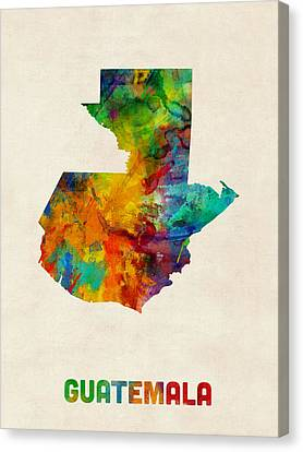Guatemala Watercolor Map Canvas Print by Michael Tompsett