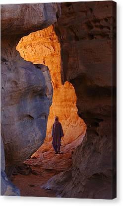 Hoggar Canvas Print - Guide In Desert Canyon, Algerian Sahara by Science Photo Library