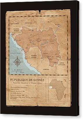 Guinee Map Canvas Print by Dave Kobrenski
