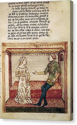 Guinevere And Galaad. Fol. 6 Canvas Print by Everett