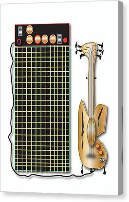 Canvas Print featuring the digital art Guitar And Amp by Marvin Blaine