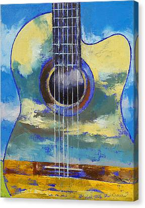 Guitar And Clouds Canvas Print by Michael Creese