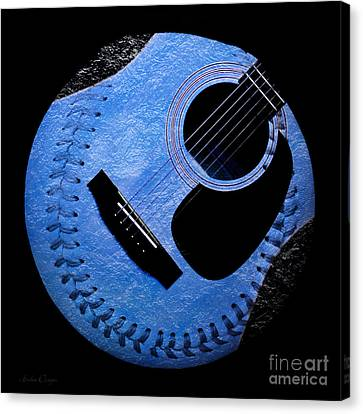 Guitar Blueberry Baseball Square Canvas Print by Andee Design
