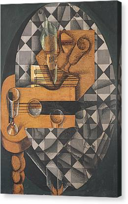 Guitar, Bottle, And Glass, 1914 Pasted Papers, Gouache & Crayon On Canvas Canvas Print