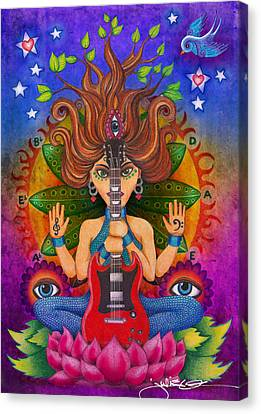 Guitar Goddess Canvas Print by Julie Oakes