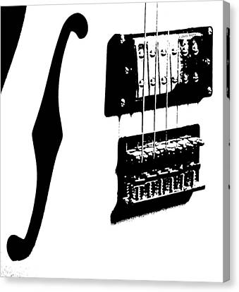 Guitar Graphic In Black And White  Canvas Print by Chris Berry