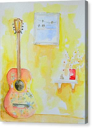 Guitar Of A Flower Girl With A Touch Of Zen Canvas Print by Patricia Awapara
