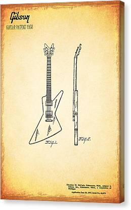 Guitar Patent 1958 Canvas Print by Mark Rogan