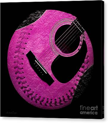 Guitar Raspberry Baseball Canvas Print by Andee Design
