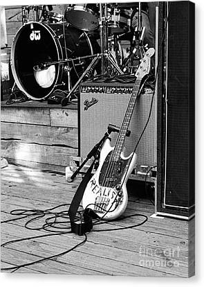 Guitar Realist On Stage Canvas Print by Sonja Quintero