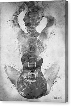 Digital Canvas Print - Guitar Siren In Black And White by Nikki Smith