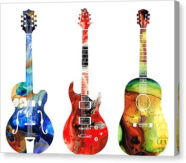 Canvas Print featuring the painting Guitar Threesome - Colorful Guitars By Sharon Cummings by Sharon Cummings