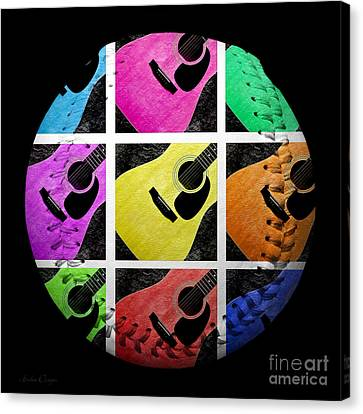 Guitar Tic Tac Toe White Baseball Square Canvas Print by Andee Design