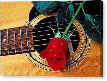 Custom Canvas Print - Guitar With Single Red Rose by Garry Gay