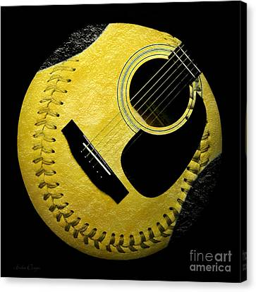 Guitar Yellow Baseball Square Canvas Print by Andee Design
