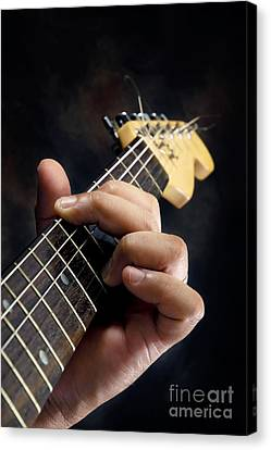 Guitarist Playing Guitar Canvas Print by William Voon