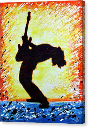 Canvas Print featuring the painting Guitarist Rockin' Out Silhouette by Bob Baker