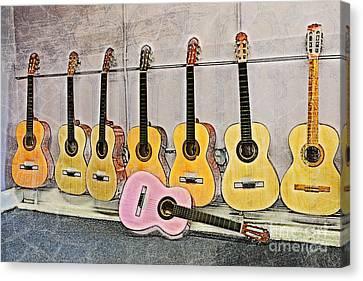 Canvas Print featuring the digital art Guitars by Erika Weber
