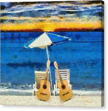 Guitars On The Beach At Sunset Canvas Print by Dan Sproul