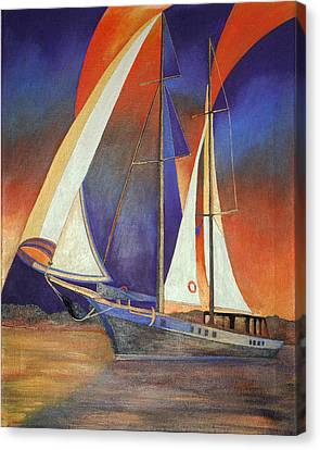 Gulet Under Sail Canvas Print