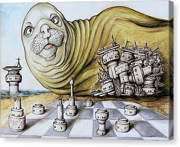 Gulf Coast Chess - Cartoon Art Canvas Print by Art America Gallery Peter Potter