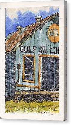 Canvas Print featuring the mixed media Gulf Oil Warehouse 2 by Tim Oliver