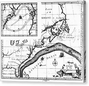 Gulf Stream: Map, 1786 Canvas Print by Granger