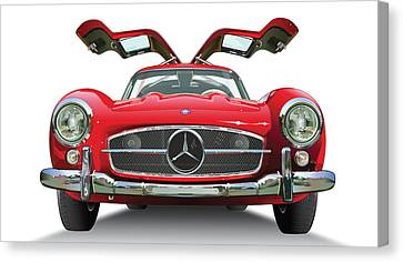 Automotive Illustration Canvas Print - Gull Wing On White by Alain Jamar