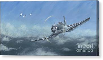 Canvas Print featuring the painting Gull Wings by Stephen Roberson