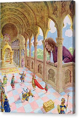 Gulliver At Lilliput Canvas Print by Jacques Onfray de Breville