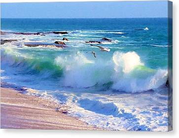 Gulls And Surf Canvas Print by John Samsen