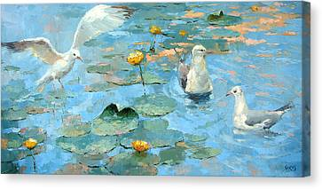 Gulls On The Water Canvas Print by Dmitry Spiros
