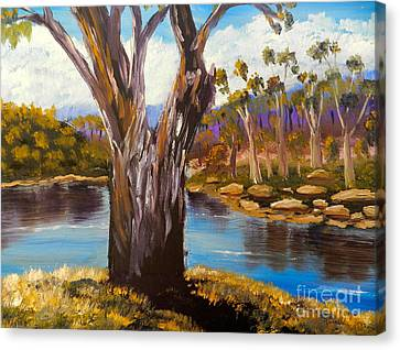 Gum Trees Of The Snowy River Canvas Print by Pamela  Meredith
