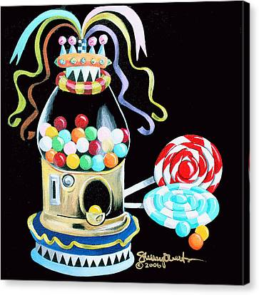 Gumball Machine And The Lollipops Canvas Print by Shelley Overton