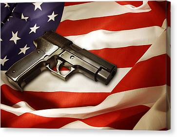 Gun On Flag Canvas Print