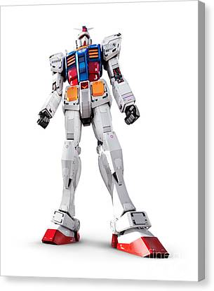 Gundam Rx-78-2 Statue Isolated On White Canvas Print by Oleksiy Maksymenko